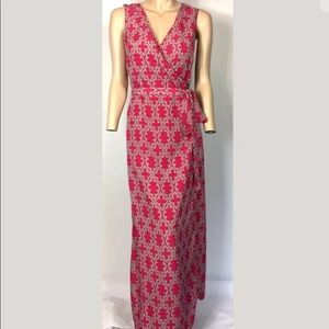 Banana Republic printed true wrap maxi dress pink